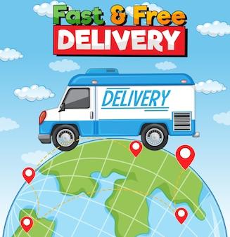 Logotipo de entrega rápida e gratuita com caminhão de entrega na terra