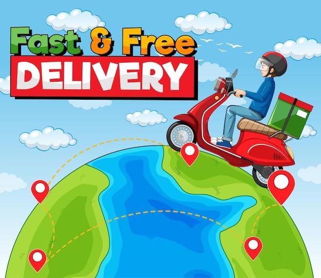 Logotipo de entrega rápida e gratuita com o homem da bicicleta ou mensageiro andando pela terra
