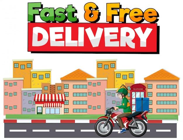 Logotipo de entrega rápida e gratuita com o homem da bicicleta ou mensageiro ri na cidade