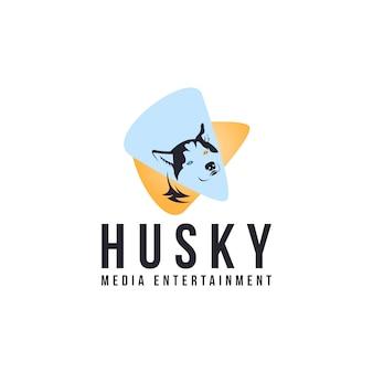 Logotipo de entretenimento de mídia husky