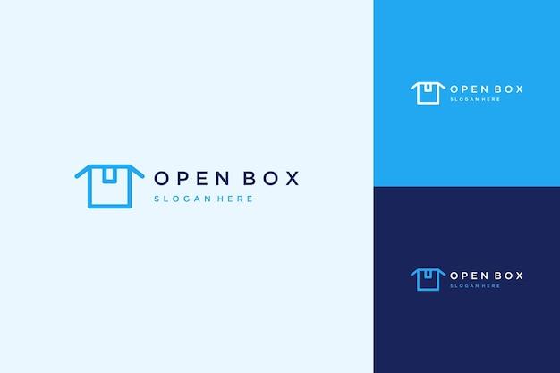 Logotipo de envio ou logotipo de design de caixa aberta