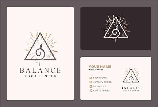 Logótipo de equilíbrio natural para ioga, cuidados de saúde.