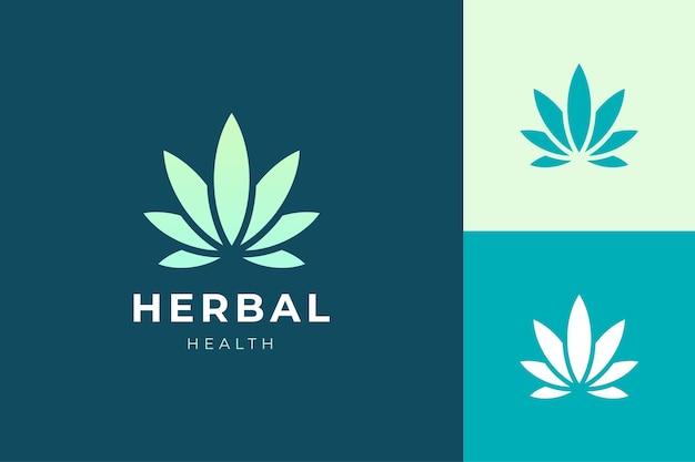 Logotipo de ervas ou saúde em folha de maconha ou maconha simples e limpa