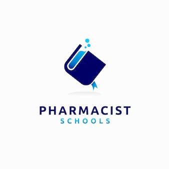 Logotipo de escolas de farmacêutico com conceito de laboratório