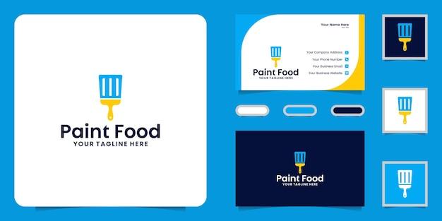 Logotipo de escova e espátula, logotipo de tinta alimentar e inspiração de cartão de visita