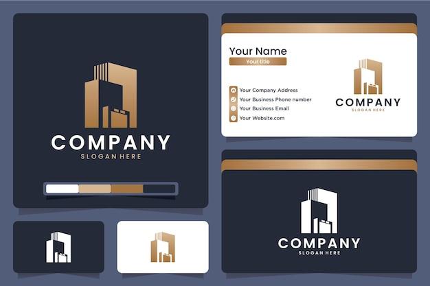 Logotipo de escritórios de edifícios com silhueta, cor dourada, modelo de cartão de visita