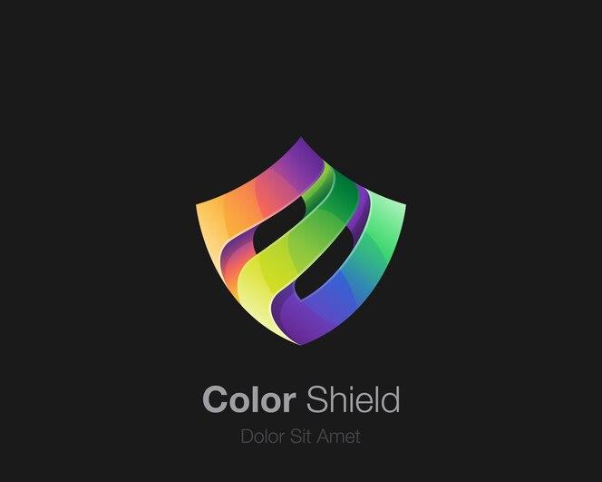 Logotipo de escudo colorido abstrato