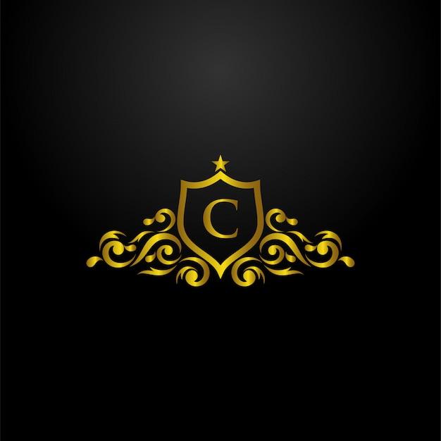 Logotipo de escudo de luxo