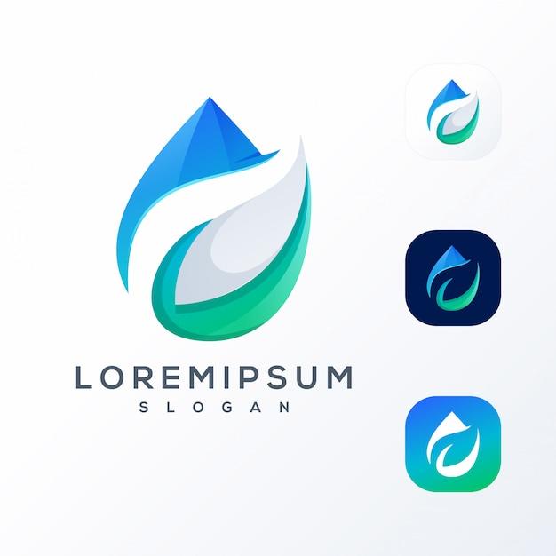 Logotipo de espaço negativo de água de folha