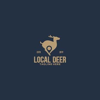 Logotipo de espaço negativo local de veado e alfinete