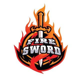 Logotipo de espadas de fogo e esportes