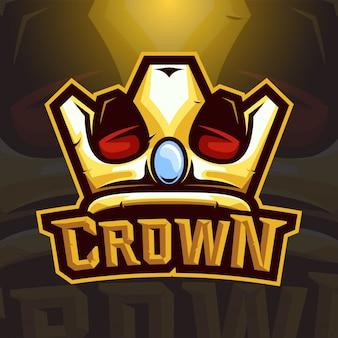 Logotipo de esport de coroa de vetor