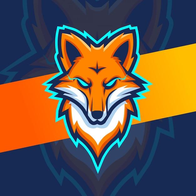 Logotipo de esport de mascote de cabeça de raposa