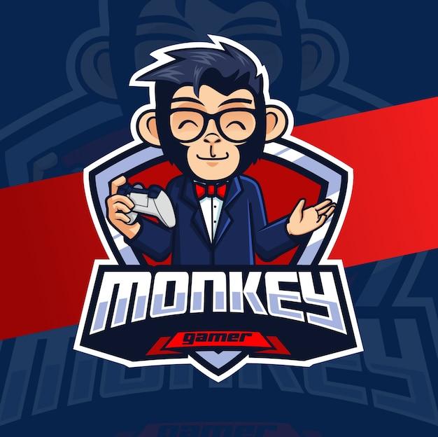 Logotipo de esport de mascote de jogador de macaco