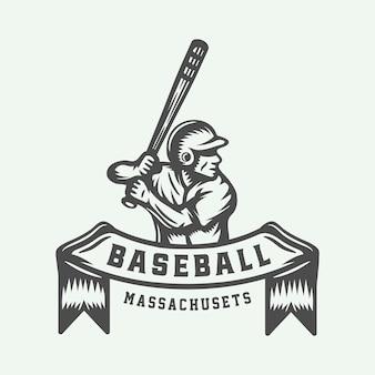 Logotipo de esporte de beisebol vintage