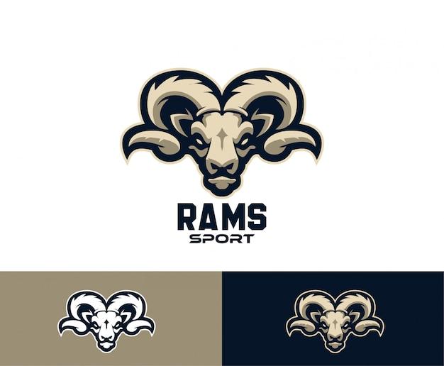 Logotipo de esporte de cabeça de cabra de ram