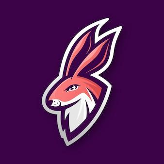 Logotipo de esporte de cabeça de coelho