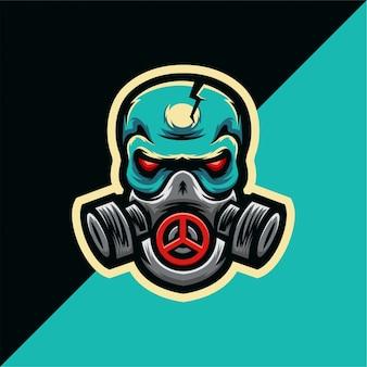 Logotipo de esporte de máscara de gás de caveira