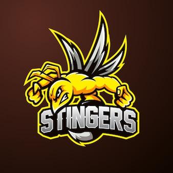 Logotipo de esporte de mascote de abelha