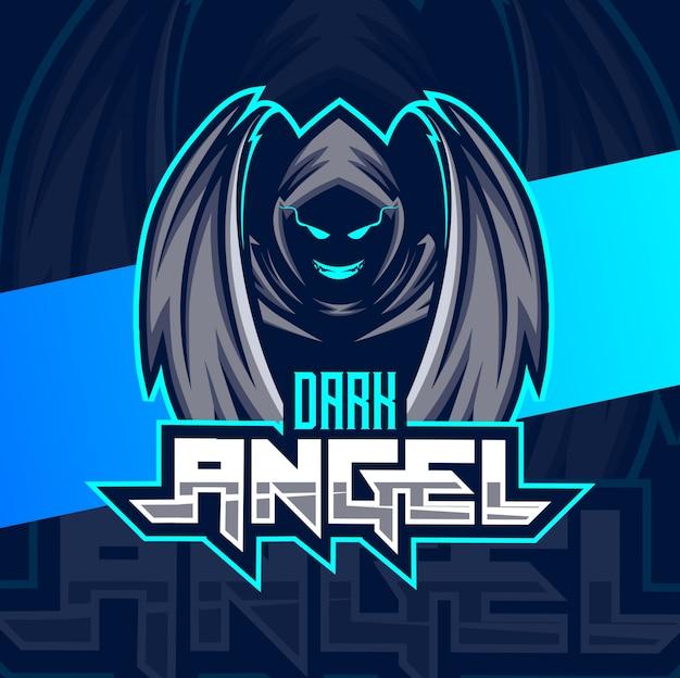 Logotipo de esporte de mascote de anjo escuro
