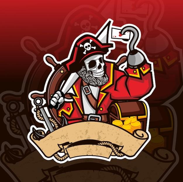 Logotipo de esporte de mascote de caveira de pirata