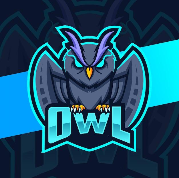 Logotipo de esporte de mascote de coruja
