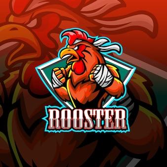 Logotipo de esporte de mascote de galo
