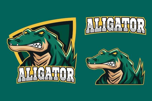 Logotipo de esporte de mascote de jacaré verde assustador