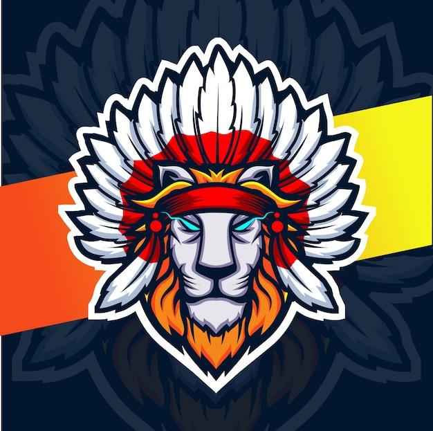 Logotipo de esporte de mascote de leão chefe indiano