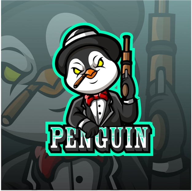 Logotipo de esporte de mascote de pinguim
