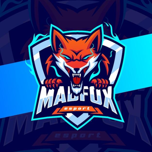 Logotipo de esporte de mascote de raposa brava com raiva