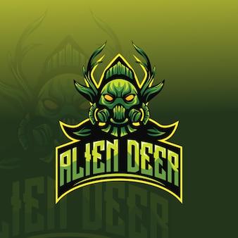 Logotipo de esporte de mascote de veado alienígena