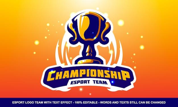 Logotipo de esporte e mascote do campeonato com efeito de texto
