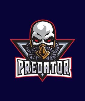 Logotipo de esportes caveira predador e