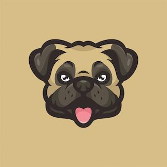 Logotipo de esportes da cabeça da mascote do cão do pug
