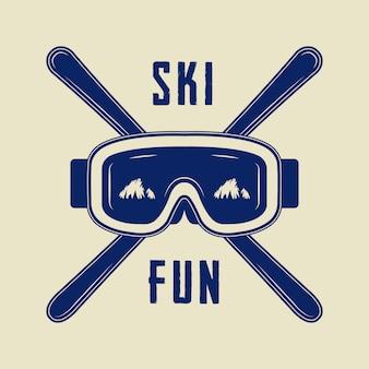 Logotipo de esportes de esqui ou inverno