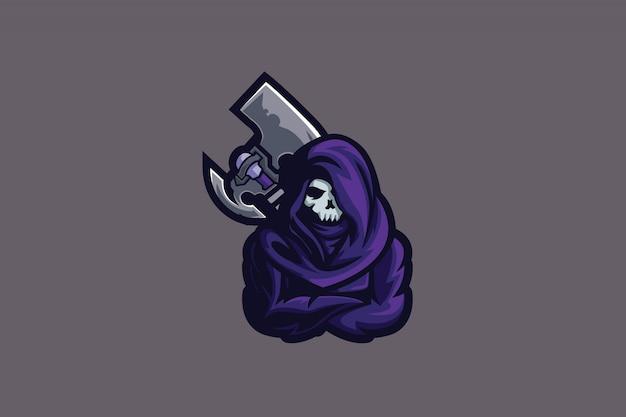 Logotipo de esportes de machado morto e