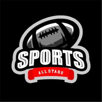 Logotipo de esportes de rúgbi todas as estrelas