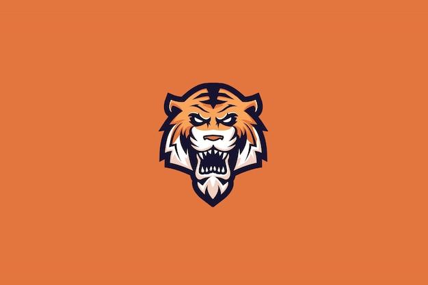 Logotipo de esportes do tigre louco e