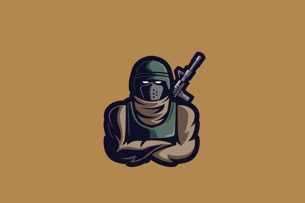 Logotipo de esportes e soldado de sobremesa