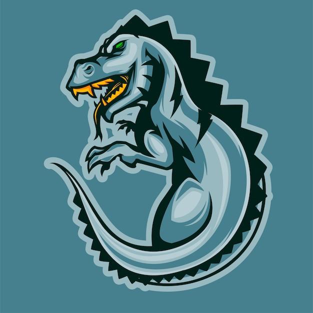 Logotipo de esports do dinossauro t-rex irritado