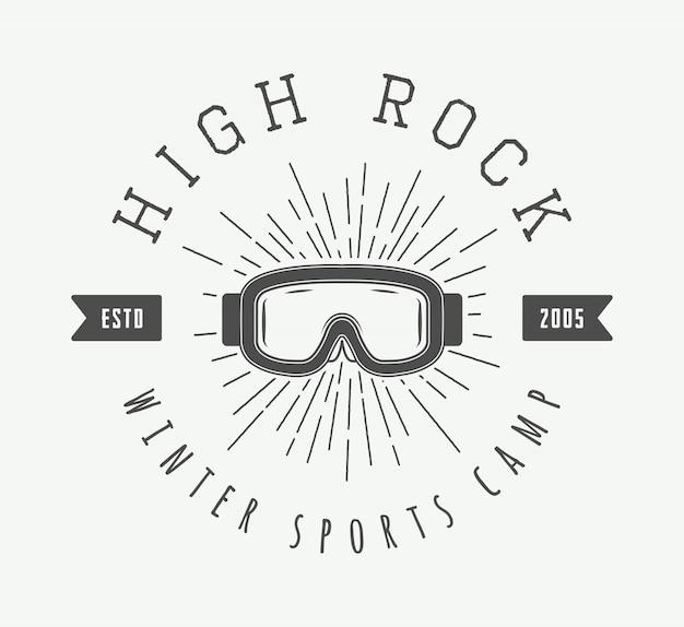Logotipo de esqui ou esportes de inverno