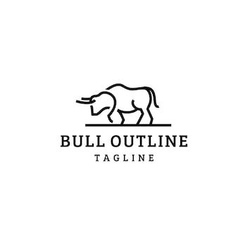 Logotipo de estilo de arte de linha de touro