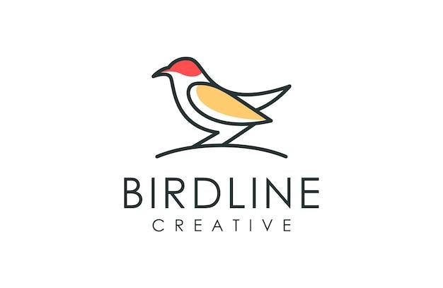 Logotipo de estilo de arte de linha pássaro