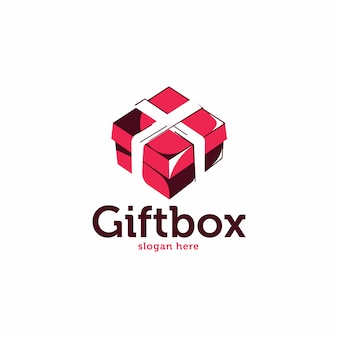 Logotipo de estilo de esboço de caixa de presente