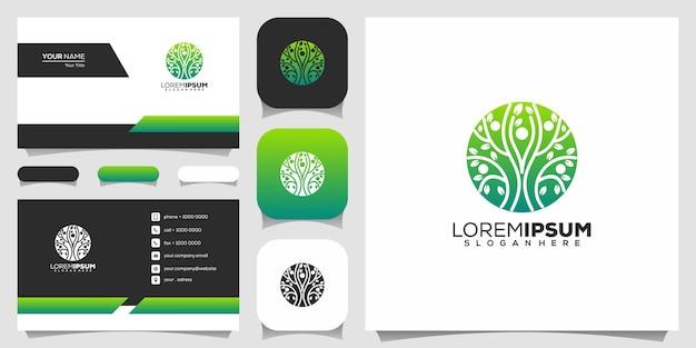 Logotipo de estilo de linha de árvore