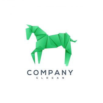 Logotipo de estilo de origami de cavalo
