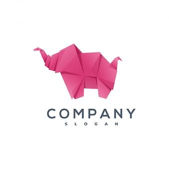 Logotipo de estilo de origami de elefante