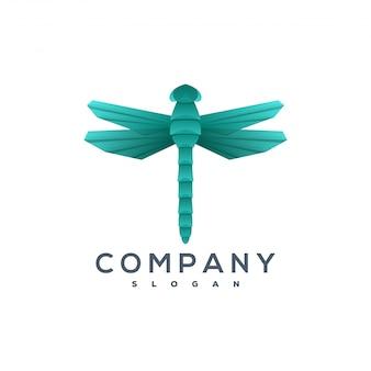 Logotipo de estilo de origami de libélula