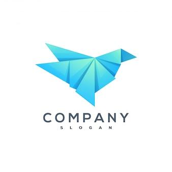 Logotipo de estilo de origami de pássaro